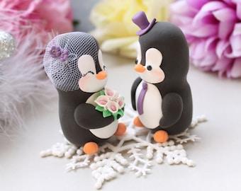 Unique wedding cake topper Penguins +snowflake base - bride groom figurines winter wedding black and white wedding gift funny elegant cute