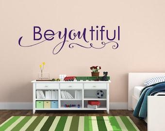 Baby Girl Nursery Wall Decal Beautiful - Beyoutiful Wall Decal - Girls Nursery Decor - Vinyl Wall Decal - Vinyl Lettering