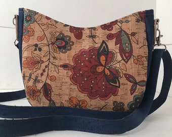 Cork Bag/Hobo Bag/Crossbody Bag/Purse/Pouch with Adjustable Strap- Funky Flower w/Denim Blue Cork
