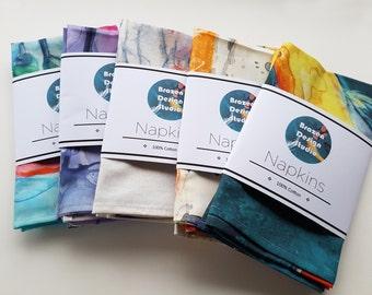 Set of Cloth Napkins - Custom Choose ANY Painting - Artistic Fabric Napkins - Fine Dining Textiles Home Decor