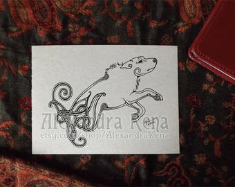 Celtic Knotwork Hound Art Print - 5x7