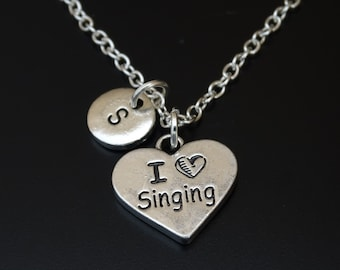 I Love Singing Necklace, Music Charm, Music Pendant, Music Jewelry, Music Teacher Gift, Gift for Singer, Karaoke Necklace,Music Lover Gift