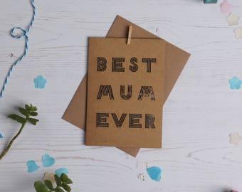 Best mum card, paper cut card, mother's day card, card for mum, cards for her, cards for new mum, greetings card, free P&P