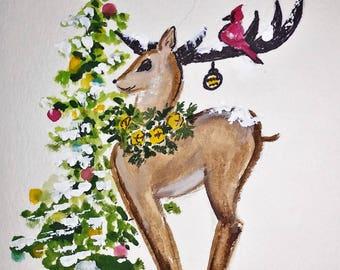 Set of 3 Christmas Cards, Reindeer, Door Wreath, Tree in Window