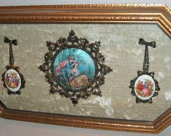 p7773: Vintage Italian Porcelain Ornate Gold Gilt Shadow Box Wall Plaque Framed under Glass at Vintageway Furniture