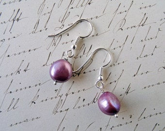 Large baroque Pearl earrings - Pearl earrings - lilac wedding - colored Pearls - cultured Pearl - large Pearl earrings - lilac earrings - UK