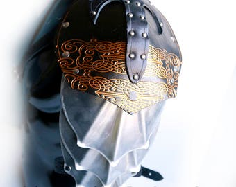 Black Filigree Pauldron with Metal by Crimson Chain Leatherworks - SCA Larp Renactment Garb Costume