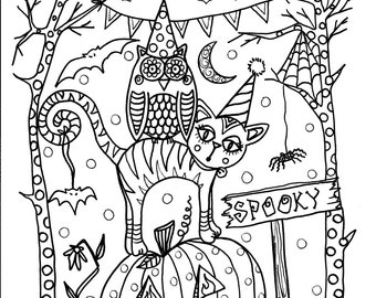 5 pages Instant Download Halloween Coloring pages 5 different designs to Color/digital/digi/stamp/fall/witch