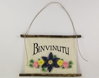 Binvinutu, Sicilian Welcome, Paper Quilled Sicilian Welcome Sign, 3D Paper Quilled Banner, Blue Yellow Pink Decor, Sicily Gift, Sicily Decor