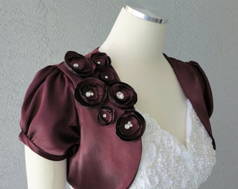 Wedding Bridal Aubergine Satin Bolero Shrug With Flowers and Rhinestones ALL SIZES AVAILABLE