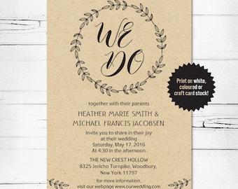 Wedding Invitation Template, We Do Invitation, Digital Wedding Invitation, Rustic Wedding, PDF Wedding Invitation.
