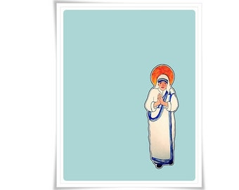 Blessed Mother Teresa of Calcutta Saint Art Modern Contemporary Catholic Painting Holy Card Religious Meditation Decor