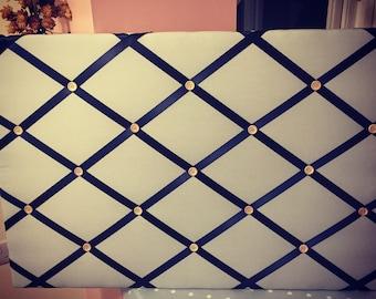 Custom Made Fabric and Ribbon Noticeboard/Pin Board