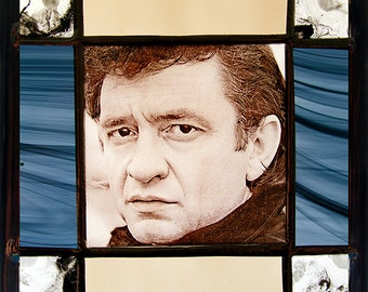 Johnny Cash, Johnny Cash stained glass, kilnfired stained glass, Johnny Cash suncatcher, suncatcher, Johnny Cash,  unica stained glass