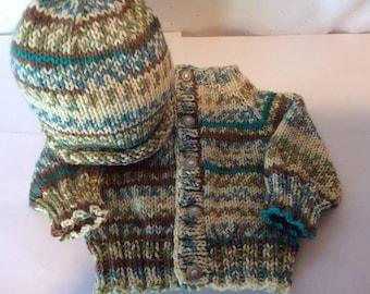 Hand Knit Newborn Baby Sweater Soft Acrylic Brown Variegated Yarn at NeedlesandPinsShop