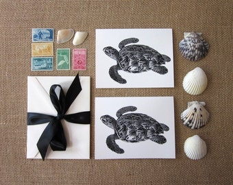 Sea Turtle Note Cards Set of 10 with Matching Envelopes