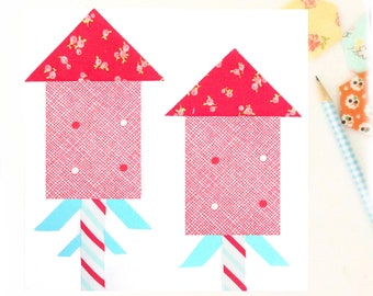 Firecrackers Fireworks 4th of July PDF quilt block pattern - Includes instructions for 6 inch and 12 inch Finished Blocks