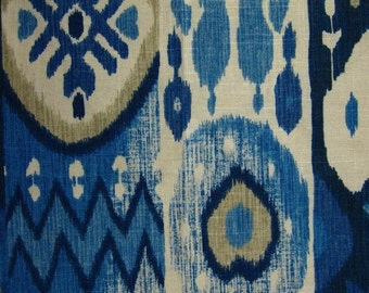 Navy Blue Ikat - Contemporary Indigo Blue Linen Curtains - Taupe Ivory Blue Ikat for Furniture - Navy Blue Home Decor Upholstery Fabric