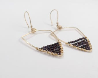 Larger Gold Beaded Triangle Earrings #623