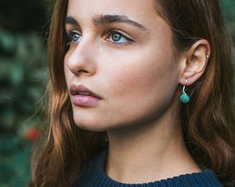 Amazonite earrings. Green dainty earrings. Delicate earrings. Bridesmaid earrings. Minimalist earrings. Crystal earrings. Dangle earrings.