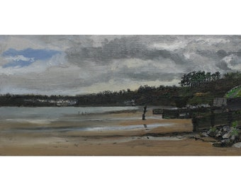 Amroth, Wales, small original oil painting, 12 x 24 cm