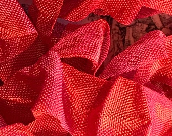 VINTAGE CANDY APPLE Crinkle Seam Binding Ribbon Crinkly Stained Hand Dyed Ribbon by Starry Nites Farm