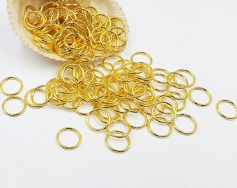 20 Gold Plated Closed Jump Rings 14mm Jewelry Supplies Findings GPCJR14MM-20D1