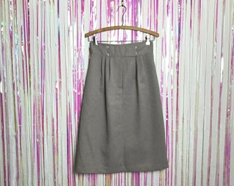 Vintage 1980s High Waisted Minimalist Taupe Skirt