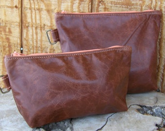 Cognac Leather Zippered Pouches in 2 Sizes, Distressed Leather with D Ring