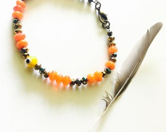 Evil Eye Orange Glass Beaded Bracelet