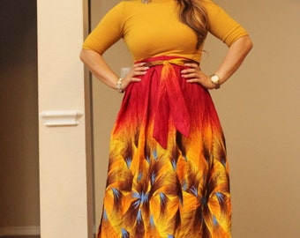 African print skirt, Wrap skirt, African wrap skirt, Ankara wrap skirt, African print maxi skirt,  Wine and yellow skirt, African clothing