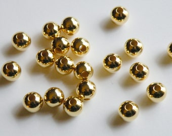 20 Round smooth ball beads gold plated brass 8mm with large 2mm hole 2874MB