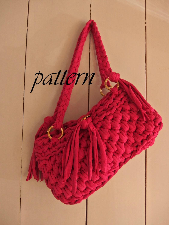 Digital crochet pattern t shirt yarn handbag/ crochet pattern yarn ...