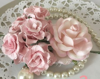 6 Variations Listing of MIXED Mulberry Paper Flowers Scrapbooks Wedding Cards Dolls Crafts Curly and large Roses Pink Tone G2/78R-518