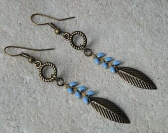 Earrings chains enamel stars night sky *.