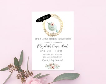 Little Birdie First Birthday Invitation/ 5 different versions to choose from/ whimsical/ digital invitation