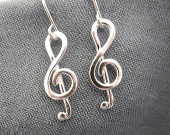 Treble Clef Silver Drop Earrings