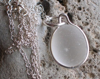 Natural Sea Glass Sterling Silver Petite Pendant Necklace soft white glow (502)