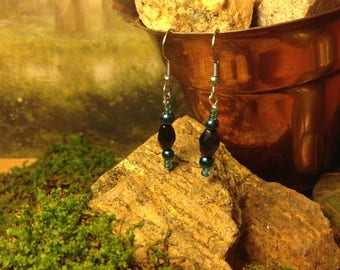 Dark Blue and Black Crystal Beaded Dangle Earrings