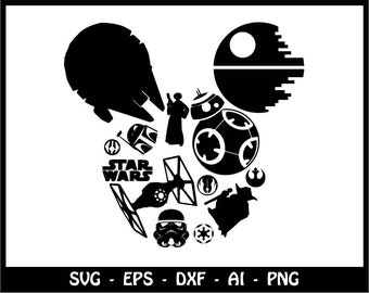 Mickey mouse SVG, Minnie mouse SVG, star wars svg, Disney svg, disney clipart, SVG Files, Cricut Cut Files, Silhouette Cut Files