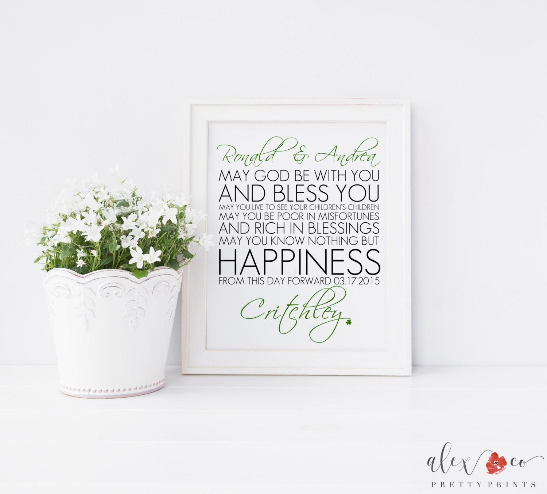 Irish Wedding Blessing Gifts: Personalized Irish Wedding Blessing Printable. Irish Wedding