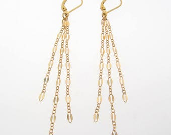 Long Tassel Earrings, Cascade Dangle Earrings on Lever Backs, Gold Filled Or Sterling Silver