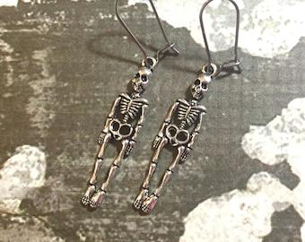 Cute Creepy Silver Toned Human Anatomy Skeleton Dangle Charm Halloween Earrings with Surgical Steel Kidney Ear Wires