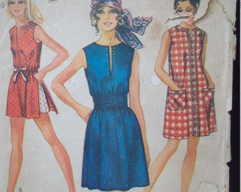 Easy to Sew Jiffy Dress or Top and Shorts Vintage 1970s Simplicity Pattern 8832 Size 12