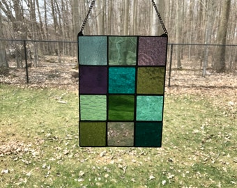 Cool Colours Abstract Geometric Stain Glass Panel