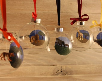 Personalized Hand Painted Savanah or Jungle Glass Ornament