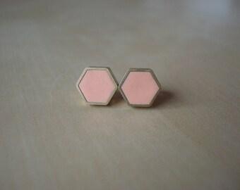 peachy keen mini brass hexagon stud earrings