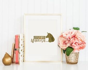 Unicorn Gift - Foil Print - Unicorn Wall Art - Rose Gold Decor - Gift For Mum - Foil Picture - Unicorn Print - Rose Gold Wall - Unicorn Gift