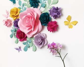 Baby Shower Party Decor - Birthday Party Paper Flowers - Baby room Wall Paper Flowers - Candy Bar Paper Flowers (code:#126)