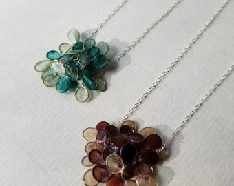 """Variegated Hydrangea Necklace : Handmade Paper & Brass Flower, Sealed, on an 18"""" Sterling Silver Chain with a Handmade Clasp"""